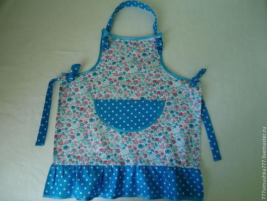 Кухня ручной работы. Ярмарка Мастеров - ручная работа. Купить Фартук для маминой помощницы. Handmade. Голубой, фартук для кухни, для детей