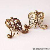 Материалы для творчества handmade. Livemaster - original item Earrings (10-2) Russian Federation bronze 17h9mm English castle. Handmade.