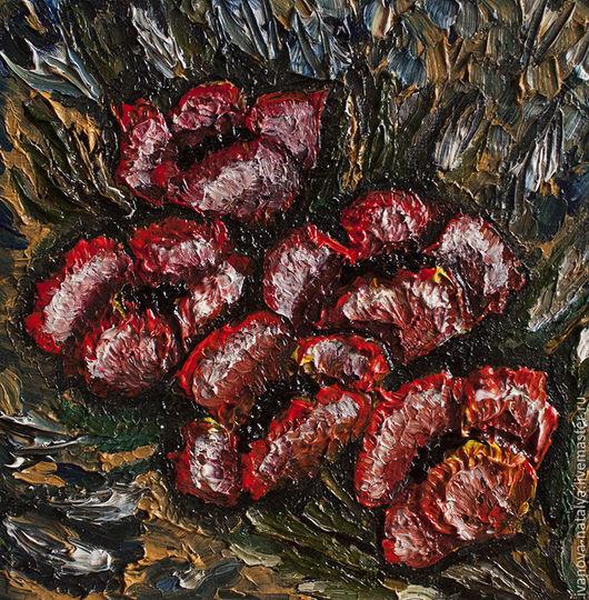 Картины цветов ручной работы. Ярмарка Мастеров - ручная работа. Купить маки. Handmade. Ярко-красный, цветы, темный, холст