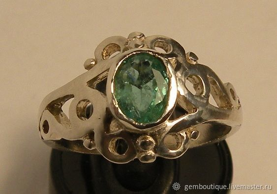 Natural emerald 0.5 K & 925 silver ring, Rings, Moscow,  Фото №1