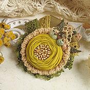 """Украшения ручной работы. Ярмарка Мастеров - ручная работа """"Пижма"""" брошь бохо желтая цветок горчичный. Handmade."""