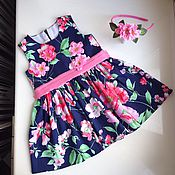 Работы для детей, ручной работы. Ярмарка Мастеров - ручная работа Платье детское с объемными цветами. Handmade.