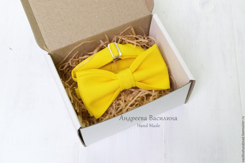 Желтый однотонный галстук-бабочка, Галстуки, Ростов-на-Дону,  Фото №1