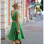 Одежда ручной работы. Ярмарка Мастеров - ручная работа Платье Изумрудное платье в горошек. Handmade.