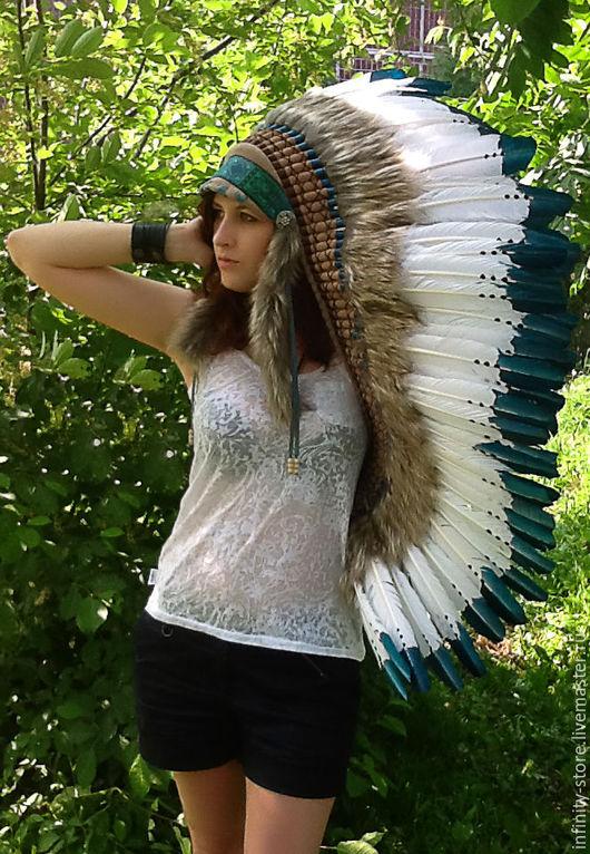 Этническая одежда ручной работы. Ярмарка Мастеров - ручная работа. Купить Индейский головной убор -Лесная Чаща. Handmade.
