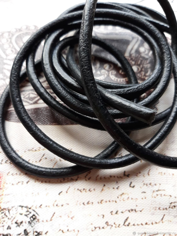 6мм Шнур кожаный черный (20мм), Шнуры, Москва,  Фото №1