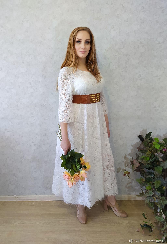 Белое платье из пряжи и ткани, Платья, Караганда,  Фото №1