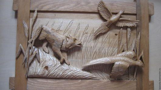 Животные ручной работы. Ярмарка Мастеров - ручная работа. Купить панно; охота:резьба по дереву. Handmade. Коричневый, ручная авторская работа