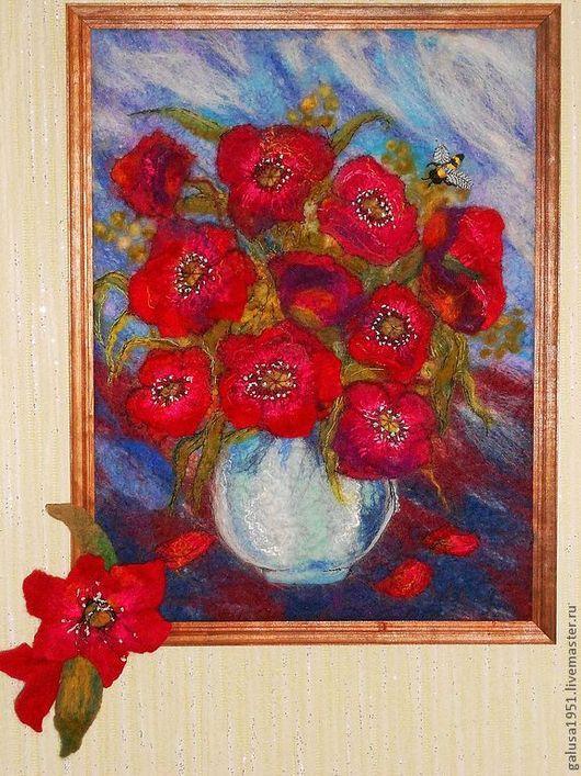 """Картины цветов ручной работы. Ярмарка Мастеров - ручная работа. Купить Валяная картина """"Анемоны"""". Handmade. Картина цветов"""