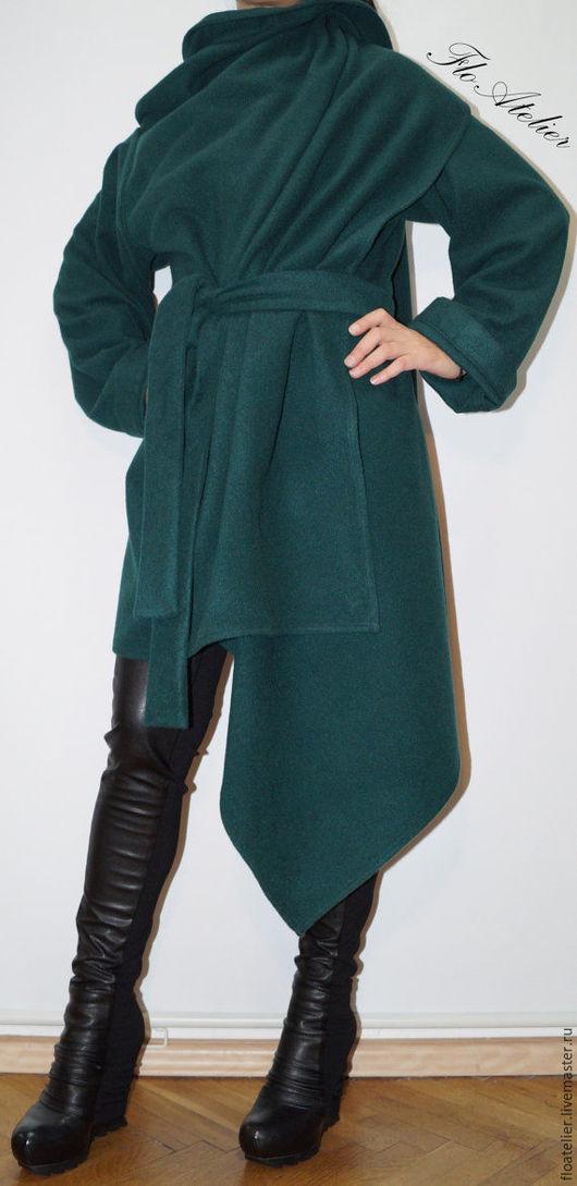 Верхняя одежда ручной работы. Ярмарка Мастеров - ручная работа. Купить Длиннее шерстьяное пальто/Aсимметричное пальто/F1366. Handmade. Тёмно-зелёный