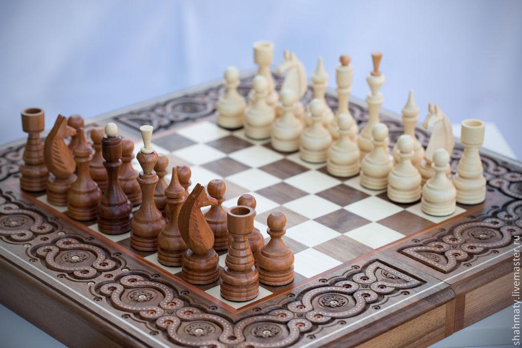 шахматы плюс нарды и шашки деревянные с резьбой элегант купить