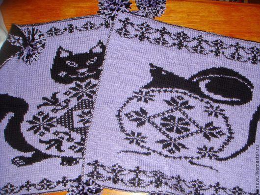 Текстиль, ковры ручной работы. Ярмарка Мастеров - ручная работа. Купить Вязаные сиденья Кошки-Мышки. Handmade. Сиденье, сиреневый