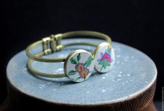 Браслеты ручной работы. Ярмарка Мастеров - ручная работа. Купить Браслет с цветами. Handmade. Комбинированный, браслет, необычный подарок, украшения