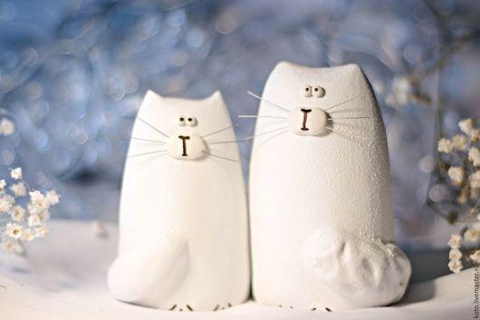 Подарки для влюбленных ручной работы. Ярмарка Мастеров - ручная работа. Купить Пара кот и кошка белые. Handmade. Белый, подарок