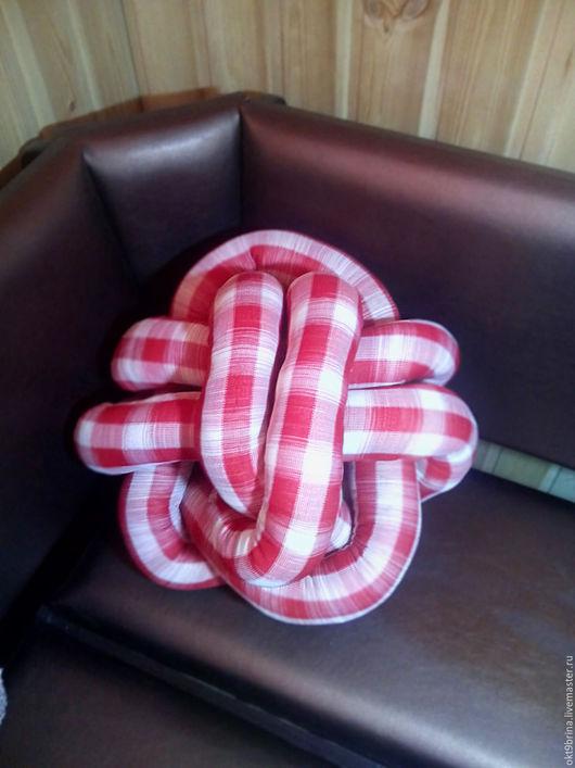 Текстиль, ковры ручной работы. Ярмарка Мастеров - ручная работа. Купить Подушка-игрушка Узел в клетку. Handmade. Ярко-красный