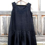 Одежда handmade. Livemaster - original item Dress linen summer black on Black. Handmade.