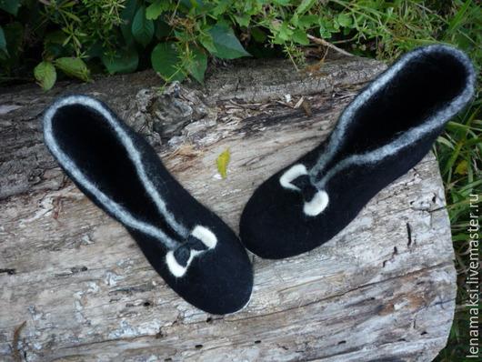 """Обувь ручной работы. Ярмарка Мастеров - ручная работа. Купить Ботильоны """"Кокетка"""". Handmade. Черный, валенки, шерсть, натуральная шерсть"""