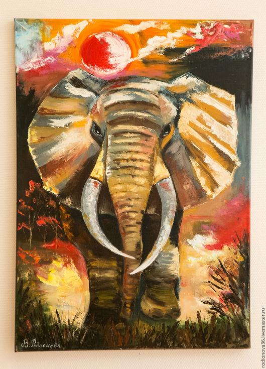 Животные ручной работы. Ярмарка Мастеров - ручная работа. Купить Счастливый слон (по мотивам). Handmade. Комбинированный, африка