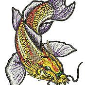 Дизайн и реклама ручной работы. Ярмарка Мастеров - ручная работа карп кои / дракон дизайн машинной вышивки. Handmade.
