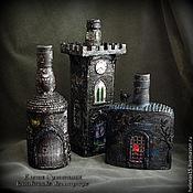 "Бутылка-светильник ""Замок Дракулы"" Декупаж"