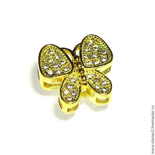 Для украшений ручной работы. Ярмарка Мастеров - ручная работа. Купить Бусина бабочка с фианитами, желтое золото. Handmade. milano