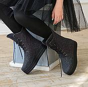 """Обувь ручной работы. Ярмарка Мастеров - ручная работа Валяные ботинки """"Блеск Обсидиана"""". Handmade."""