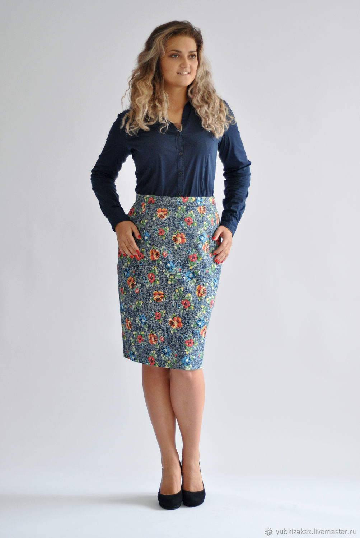 Denim skirt with flowers, Skirts, Novosibirsk,  Фото №1