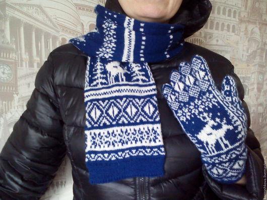 Варежки, митенки, перчатки ручной работы. Ярмарка Мастеров - ручная работа. Купить Перчатки и шарф. Handmade. Тёмно-синий