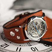 Украшения handmade. Livemaster - original item Watch wrist on a leather bracelet Aviator Brown. Handmade.