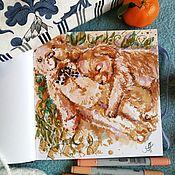 Картины и панно handmade. Livemaster - original item Cozy house - painting on paper. Handmade.