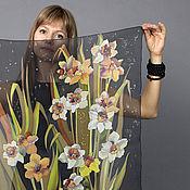 Wraps handmade. Livemaster - original item Back to listings Scarf -Narcissus and jonquil batik silk chiffon. Handmade.