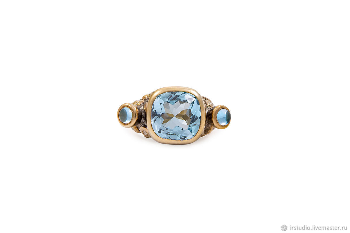 Заказать Серебряное кольцо с голубыми топазами Trinity. IR Studio Ювелирные  украшения ... 0cc91554c0f
