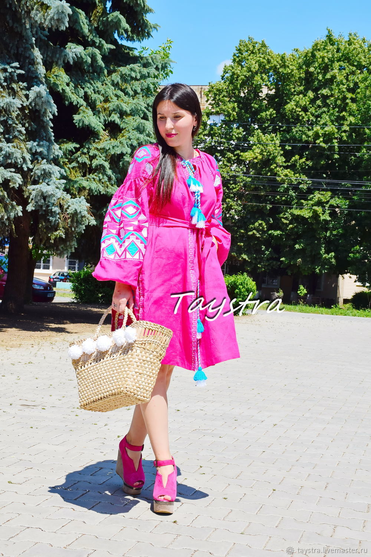 Pink Dress Boho Chic Dress Embroidered Vyshyvanka Dress, Dresses, Chernovtsy,  Фото №1