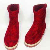 Обувь ручной работы handmade. Livemaster - original item Boots on the sole - red and maroon. Handmade.