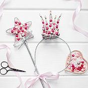 Украшения ручной работы. Ярмарка Мастеров - ручная работа Корона из бусин для принцессы и волшебная палочка, корона для девочки. Handmade.