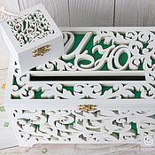 Свадебный салон handmade. Livemaster - original item Wooden wedding chest and ring box. Handmade.