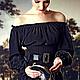"""Платья ручной работы. Шелковое платье-блузон черное """"Итальянская ночь"""". JULINA. Ярмарка Мастеров. Мини, черное мини, резинка"""