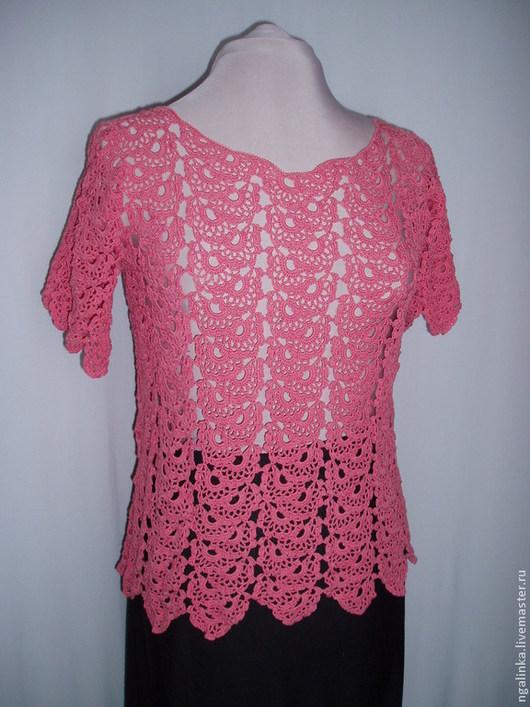 Кофты и свитера ручной работы. Ярмарка Мастеров - ручная работа. Купить блуза из хлопка с вискозой Ажурные гирлянды. Handmade. Розовый