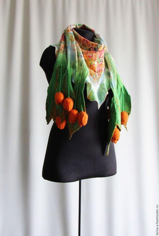 """Шарфы и шарфики ручной работы. Ярмарка Мастеров - ручная работа. Купить Валяный шарф """" Оранжевая осень"""".. Handmade. Оранжевый"""