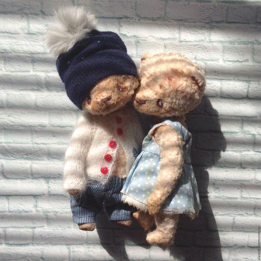 Мишки Тедди ручной работы. Ярмарка Мастеров - ручная работа. Купить Том и Поли. Handmade. Голубой, одежда для мишек тедди