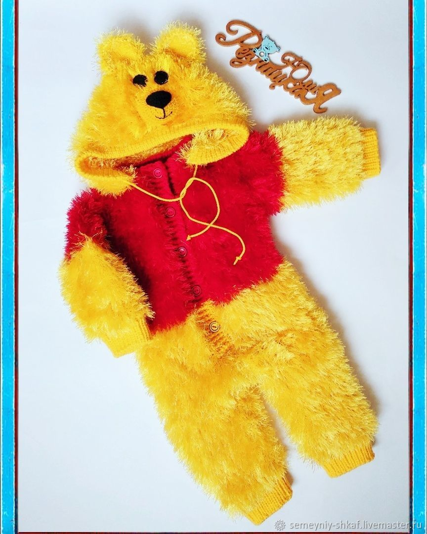 Knitted jumpsuit 'Winnie the Pooh' for baby height 68cm, Overall for children, Belgorod,  Фото №1