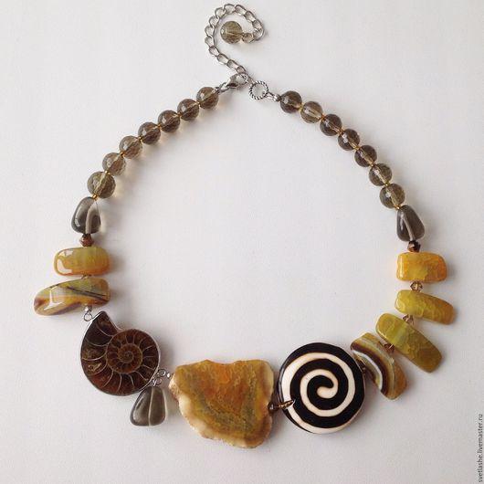 Колье бусы ожерелье из Агата аммонит раухтопаз золотистый купить в подарок украшение на шею из натуральных камней