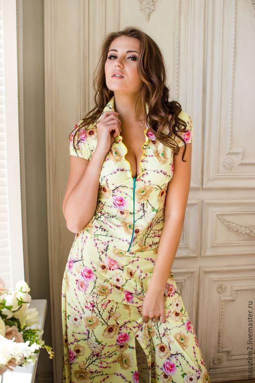 """Платья ручной работы. Ярмарка Мастеров - ручная работа. Купить Платье """"Касабланка"""". Handmade. Лимонный, платье с вырезом"""