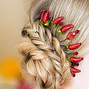 """Украшения ручной работы. Ярмарка Мастеров - ручная работа Красное украшение для волос """"с перчиком"""". Handmade."""