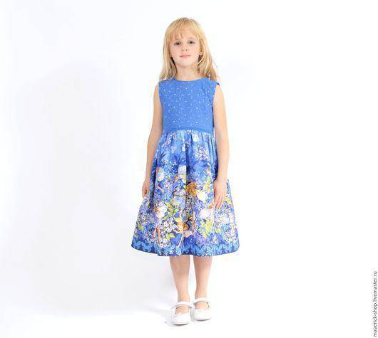 Одежда для девочек, ручной работы. Ярмарка Мастеров - ручная работа. Купить Нарядное платье для девочки из американ. хлопка с феями на синем фоне. Handmade.