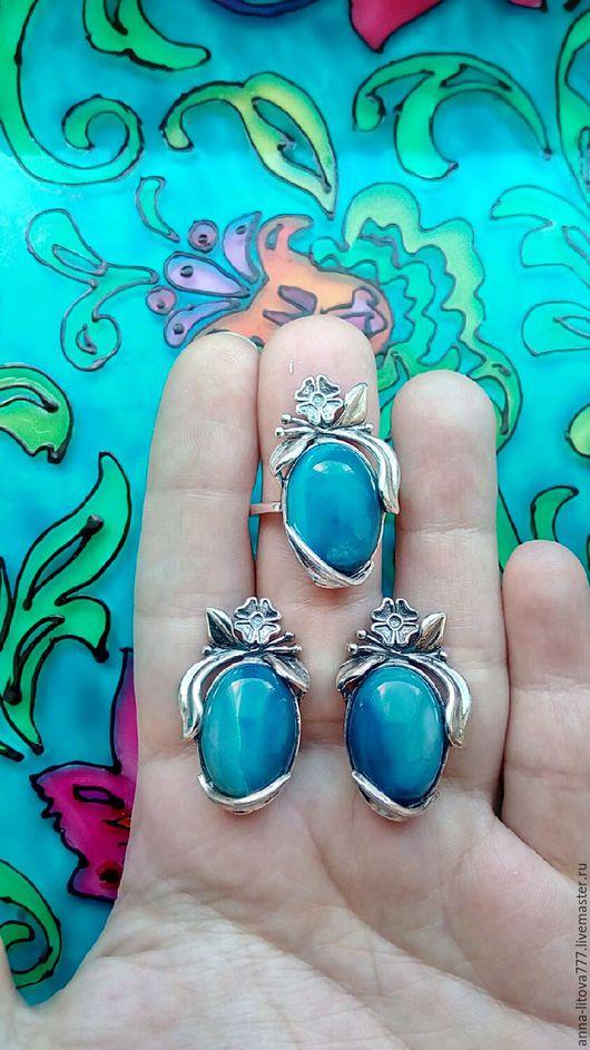 Комплекты украшений ручной работы. Ярмарка Мастеров - ручная работа. Купить 254 Комплект серебрение серьги и кольцо с камнями. Handmade.