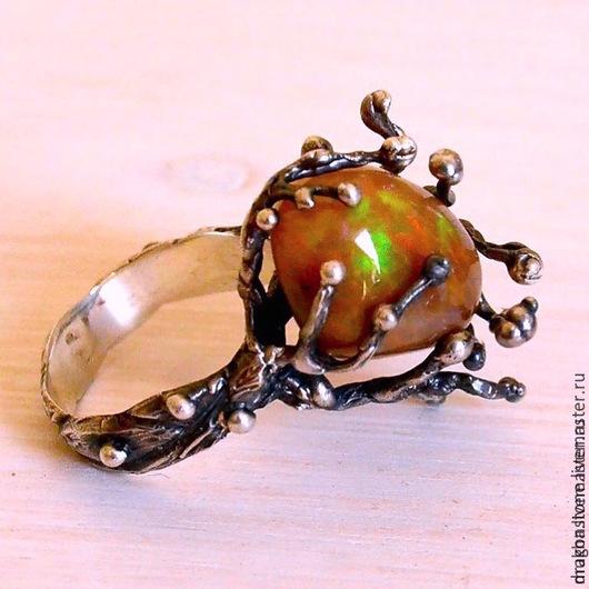 """Кольца ручной работы. Ярмарка Мастеров - ручная работа. Купить Кольцо """"Древний лес"""" с опалом. Handmade. Рыжий, опал кабошон"""