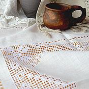 Для дома и интерьера ручной работы. Ярмарка Мастеров - ручная работа Скатерть 4 звезды, лён, вышивка, мережка, снежинка. Handmade.