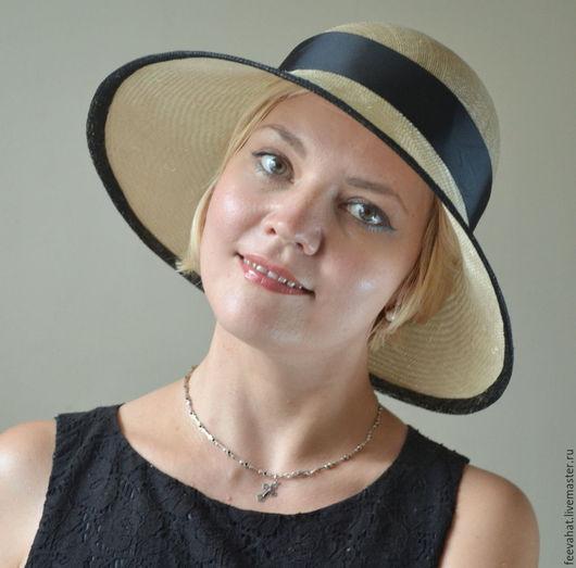 Шляпы ручной работы. Ярмарка Мастеров - ручная работа. Купить Соломенная шляпка клош с широкими полями. Handmade. Бежевый