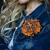 Украшения handmade. Livemaster - original item Brooch-clip leather Red rose. the decoration of leather. Handmade.